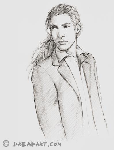 Dreadart - Skizze eines Mannes / Anzug mit Dreadlocks / Dreads