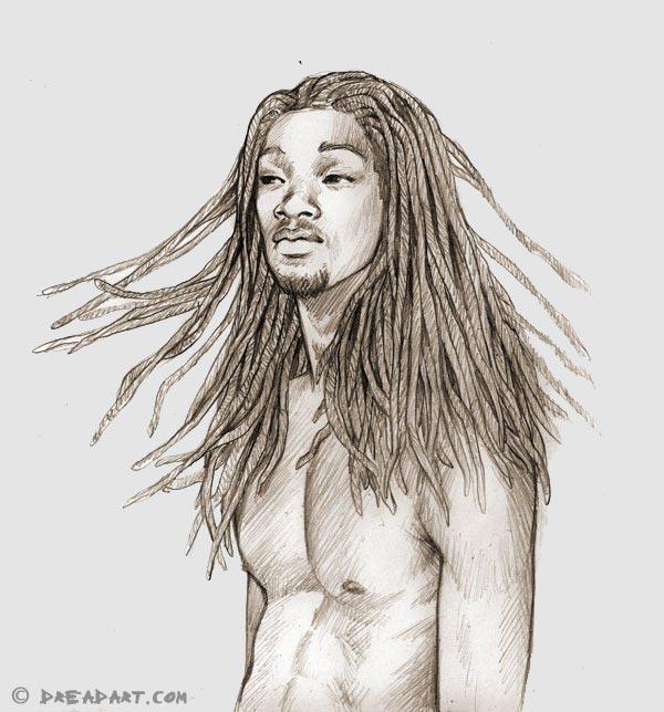 Dreadart - Skizze eines Mannes mit Dreadlocks / Dreads
