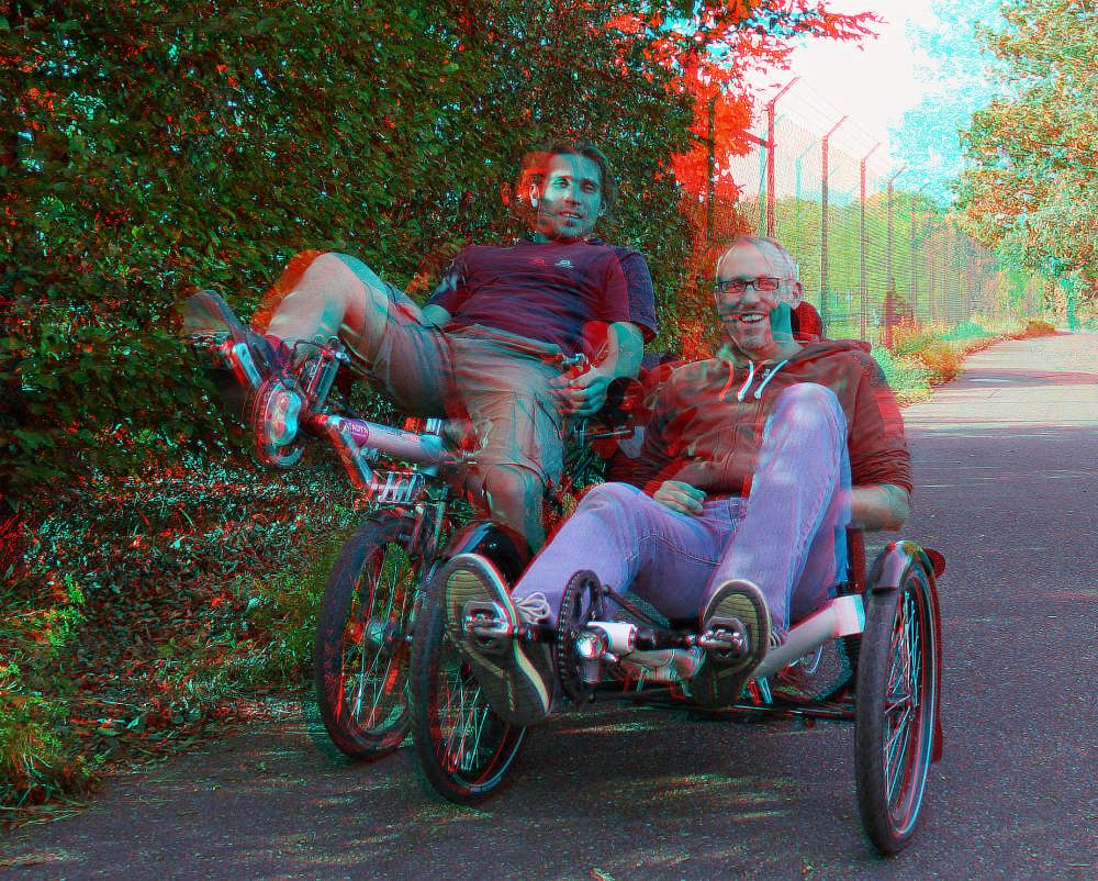 Drei D drei d rad farbanaglyphe rot cyan foto bild stereoskopische
