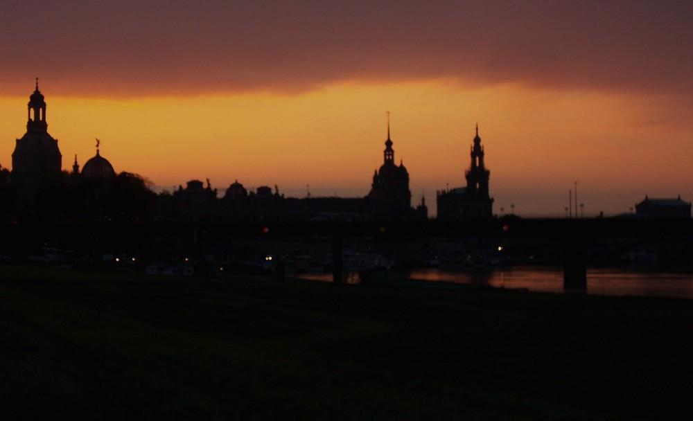 Dresdener Altstadt beim Sonnenuntergang