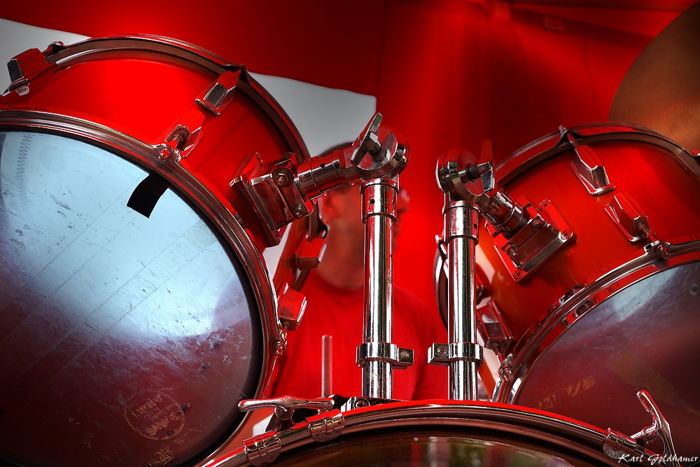 Drummer in red