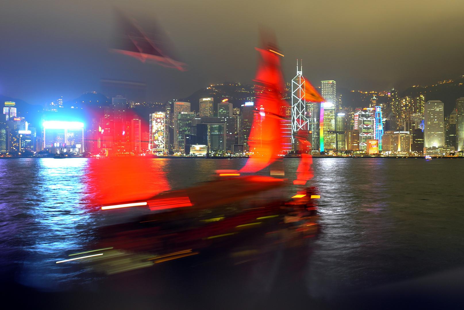 Dschunke vor Hongkong