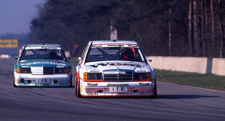 DTM 1991 Zolder Gegengerade Ellen Lohr vor Roland Asch. AMG Mercedes