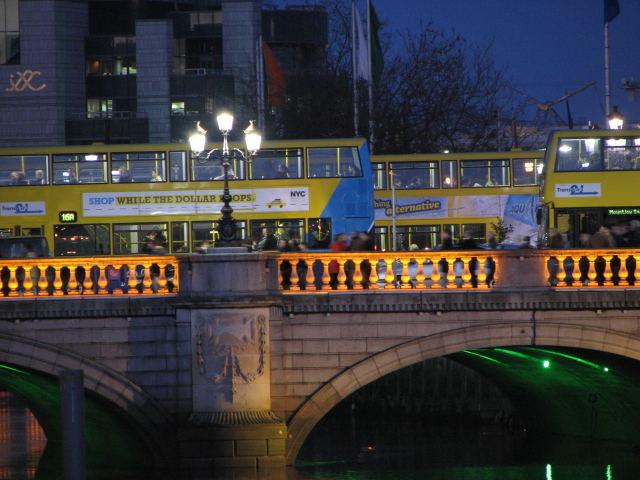 Dublin bus over O'connell bridge