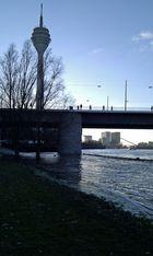 Düsseldorf Hochwasser Blick auf den Rheinturm