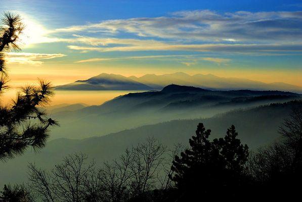 Dunst auf den Bergen