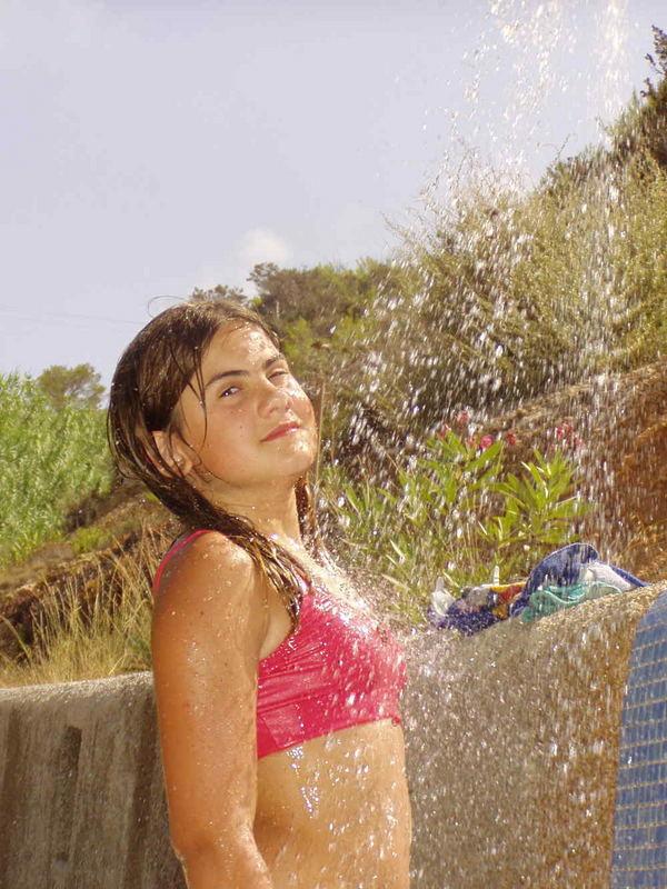 Dusche nach dem Sonnenbad