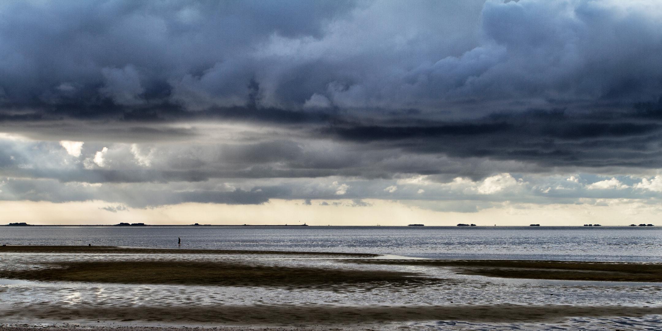 Ebbe am Strand von Wyk auf Föhr