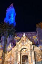 Eglise de Sanary sur mer illuminé pour noël.