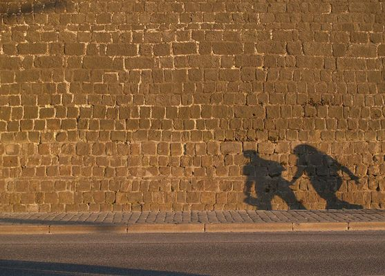 Eilige Touristen unterhalb der Brühlschen Terrasse