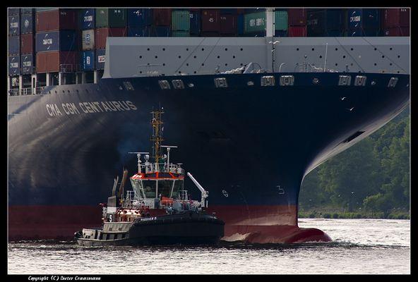 Ein Bugsier bugsiert einen Centaurus - A tow boat tows a Centaurus