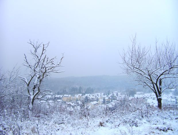Ein Dorf im Schnee