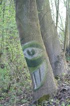 Ein friedlich, fröhlicher Baumgeist am Wegesrand