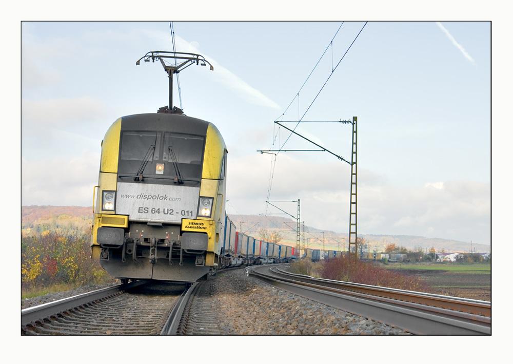 Ein ganzer Güterzug im Bild...