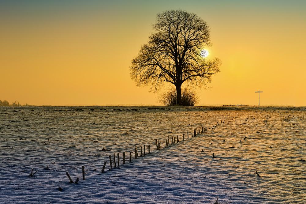 Ein kalter sonniger Morgen auf der schwäbischen Alb