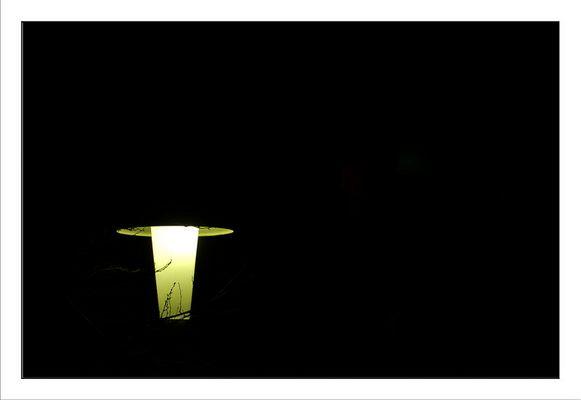 Ein Licht umringt von der Schwärze der Nacht