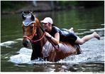 Ein Pferd baden