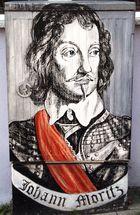 Ein Porträt von Johann Moritz Fürst zu Nassau-Siegen,gemalt auf einem Stromkasten.