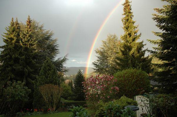 Ein Regenbogen im Garten