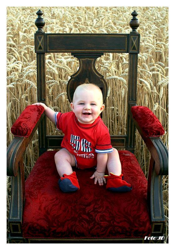 Ein Stuhl im Kornfeld mit einen ein halbes Jahr und einen Tag alten Baby