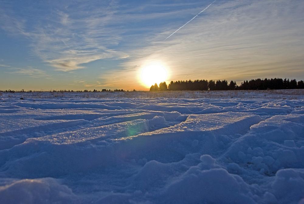 Ein Tag im Schnee geht langsam zu Ende