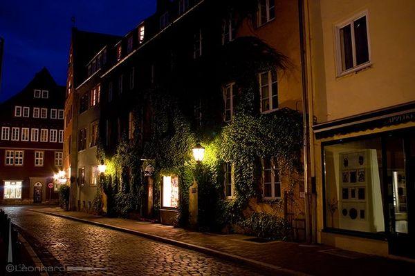 Ein Teil von Hannovers Altstadt bei Nacht