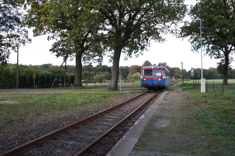 Ein Uerdinger-Triebwagen fährt in Laaske ein