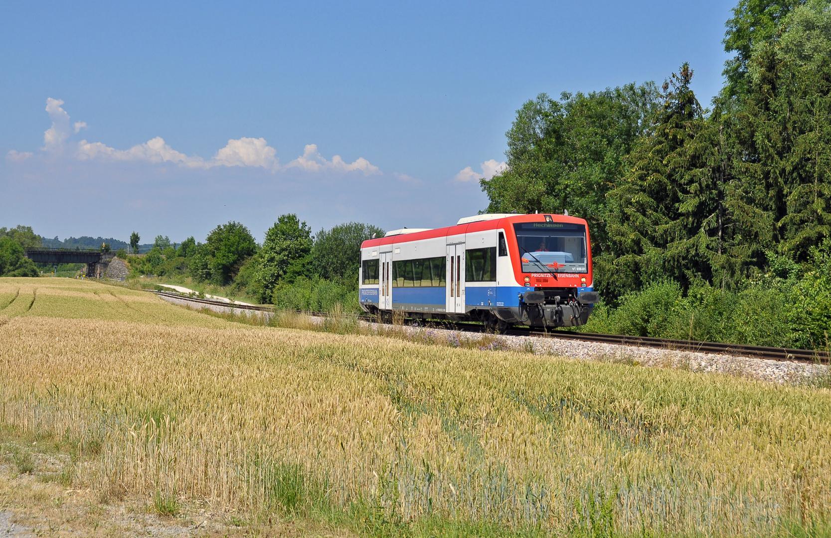 Ein VT 650 der Prignitzer Eisenbahn auf abwägen