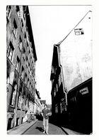 Eine alte Fotografie, ein Selbstporträt, aus dem letzten Jahrhundert. Bäckerbreitergang in HH 1968.