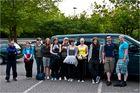 Eine fröhliche Bande, vor der Abfahrt  zu dem Handballturnier in Wangen / Allgäu