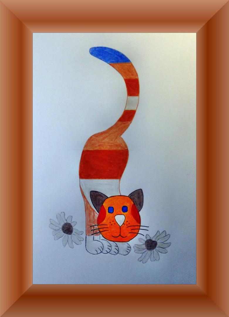 Eine Goebel(Hummel)-Katze als freie Zeichnung