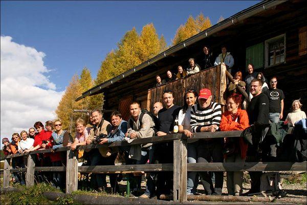 Eine Gruppe FC Fotografen über Davos