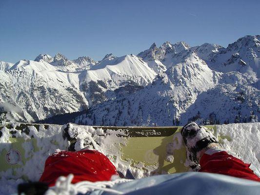 Eine perfekte snowboard aussicht