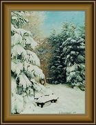 Eine verschneite Ruhebank auf dem Pöhlberg (2003)