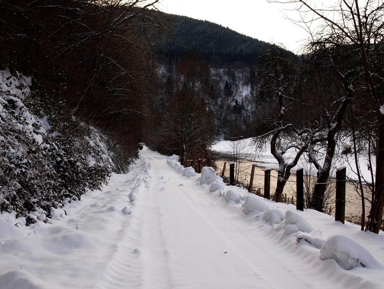 Eine winterliche Strasse Zentraleuropas