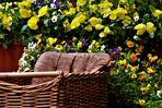 einen  Platz im Grünen umgeben von Blumen