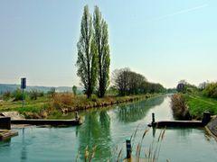 """Einfahrt bei Niffer, genannt """"Loch Ness"""", in den Canal de Huningue"""