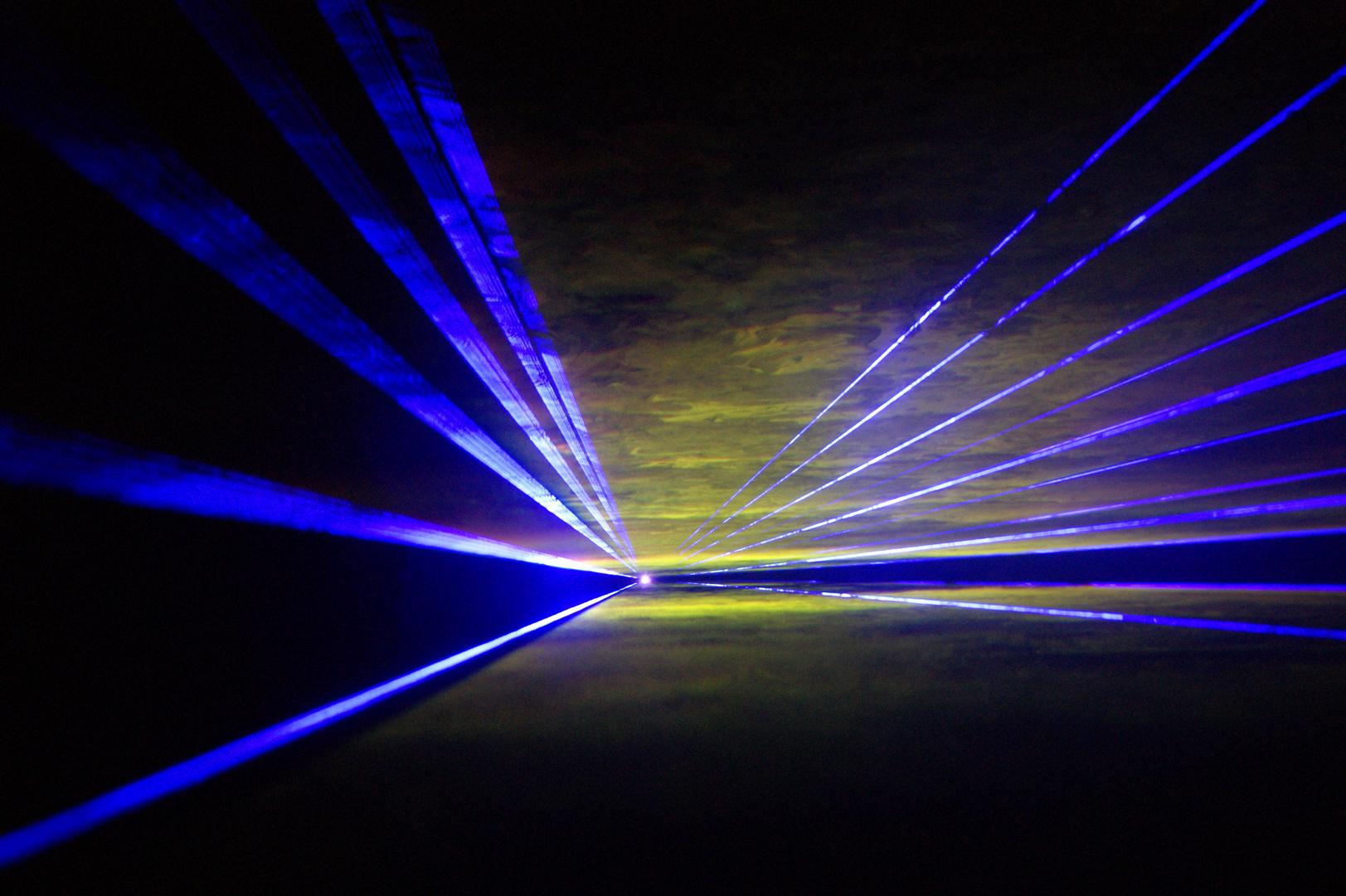 eingefangene Lasershow im Bergwerk