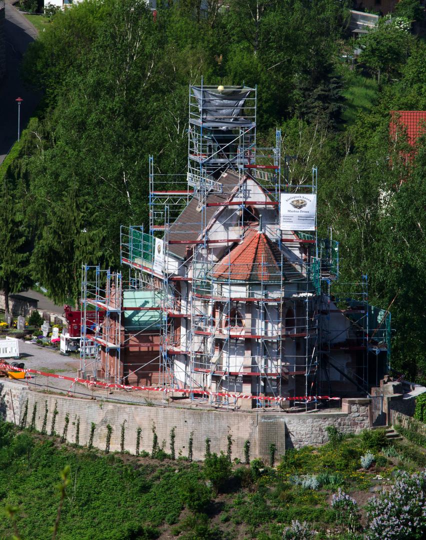 Eingerüstete St.-Wendelinus-Kapelle (Weisenbach)