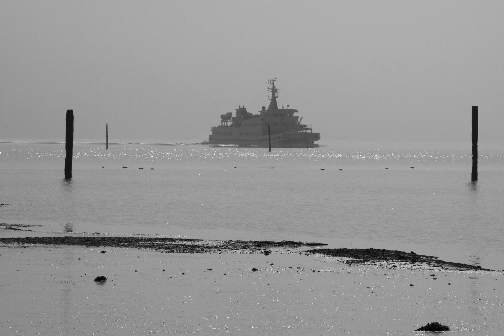 Einlaufen in den Langeooger Hafen