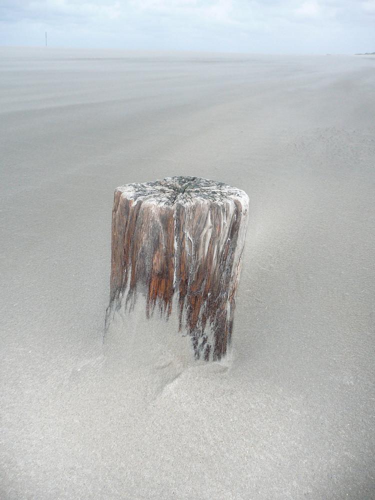 Einsamer, alter Baumpfahl am Norderney_Strand