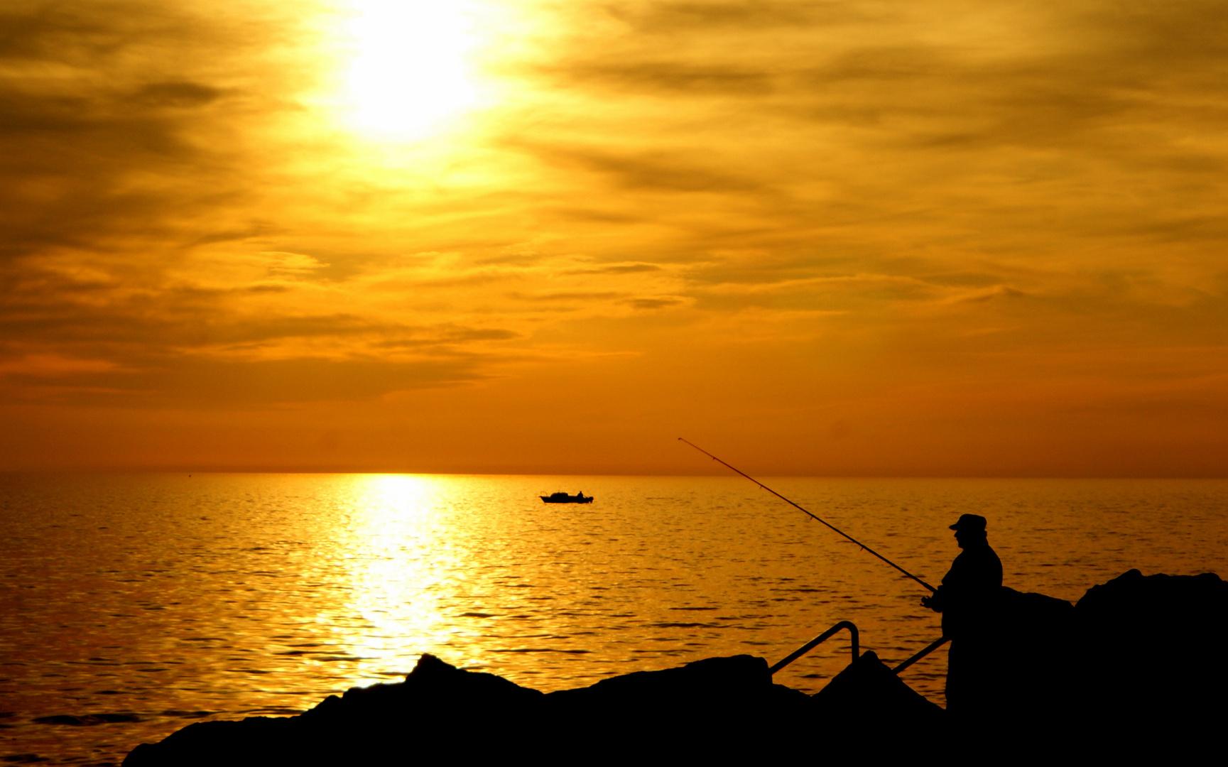einsamer Angler in Piran