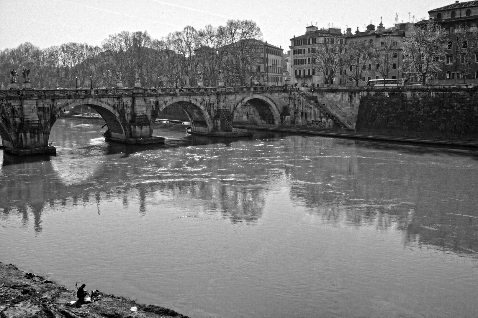Einsamer Fischer am Tiber.. (Römische Impressionen..)