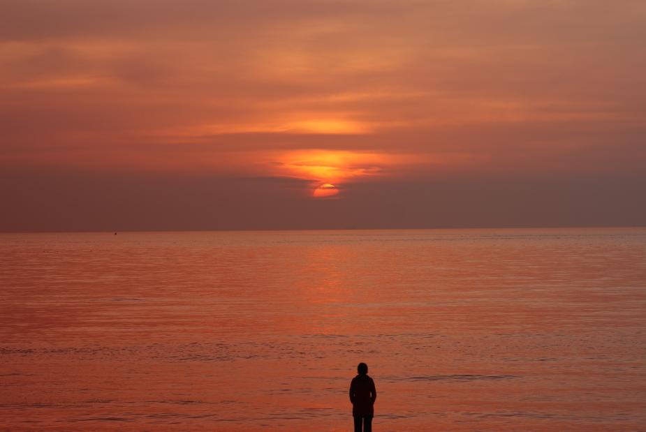 Einsamer Sonnenuntergang