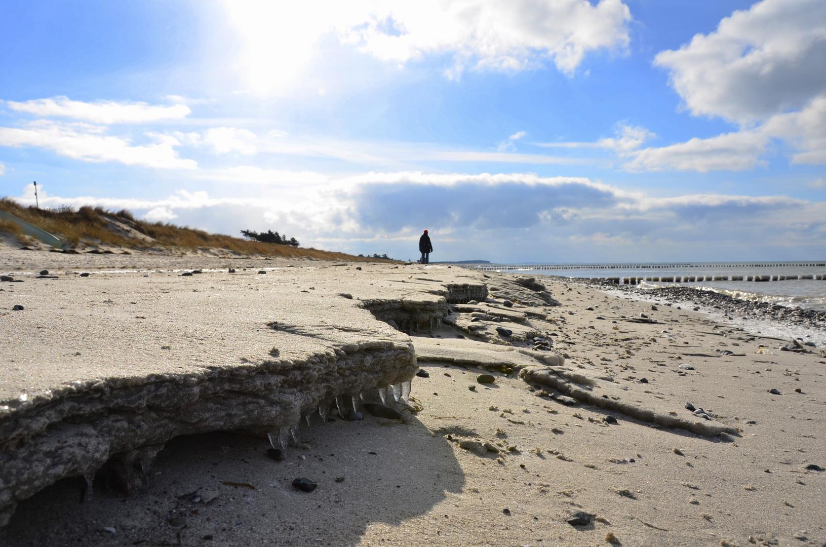 Eis am Strand von Hiddensee