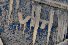 Eis an dem Kutter vor Hiddensee