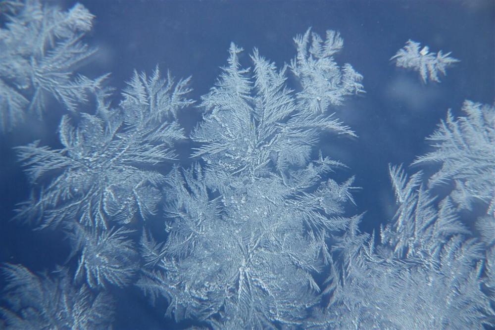 Eisblumen morgens am Fenster