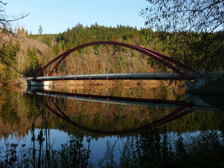 Eisbrücke bei Burgk am Stausee Burgkerhammer