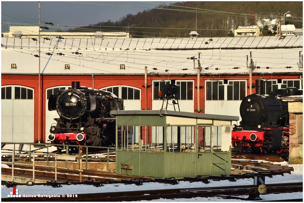 Eisenbahnmuseum im Winter