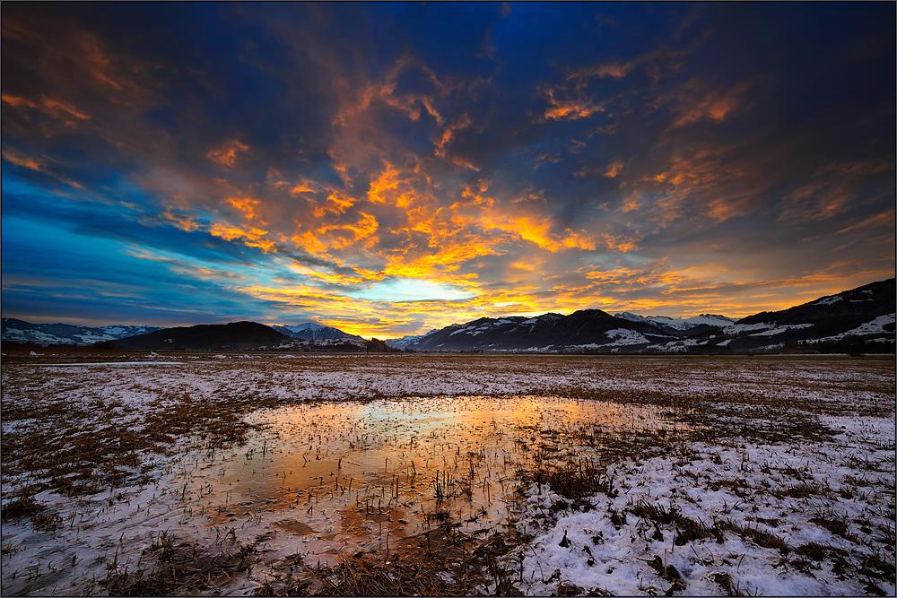 Eiskalter Morgen im Nuoler Riet